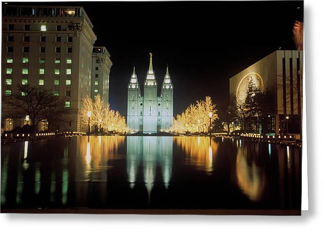 Mormon Temple At Night In Salt Lake Greeting Card