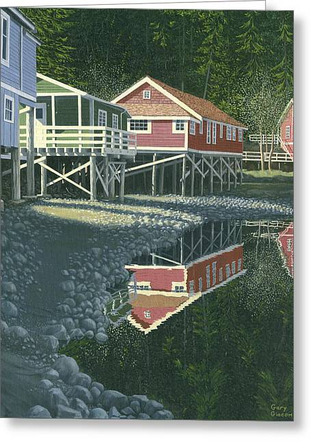 Greeting Card featuring the painting Morning At Telegraph Cove by Gary Giacomelli