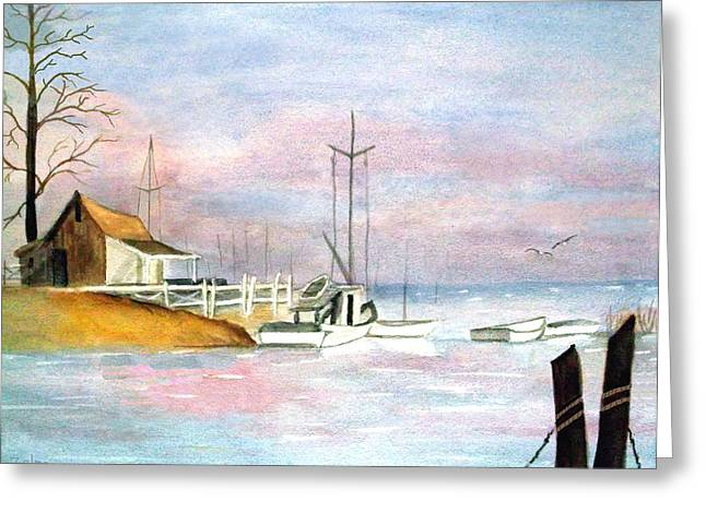Morning At The Harbor Greeting Card by Zelma Hensel