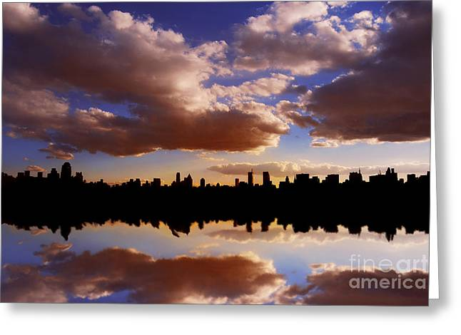 Morning At The Reservoir New York City Usa Greeting Card
