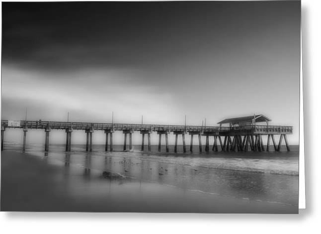 Greeting Card featuring the photograph Morning At Tybee Island Pier by Frank Bright