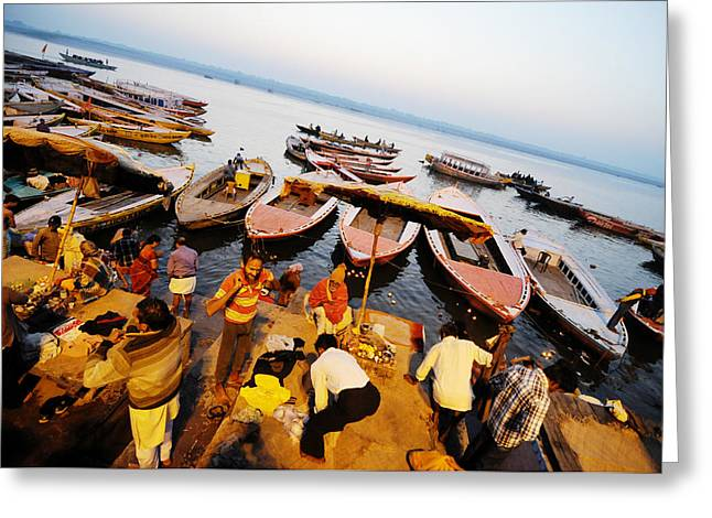 Morning Bath At Ganga Greeting Card