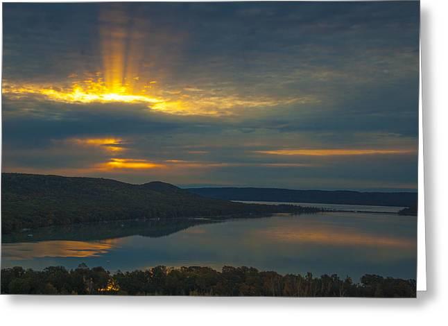 Morning Beams Over Glen Lake Greeting Card