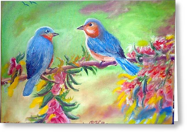 Morning Birds Greeting Card by M Bhatt
