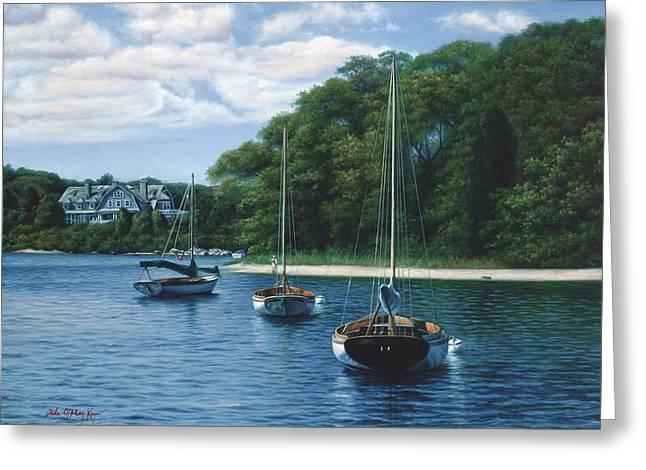Morning Blue - Cape Cod Greeting Card by Julia O'Malley-Keyes