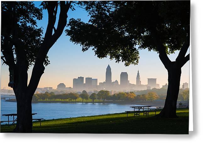 Cleveland Morning Fog Greeting Card