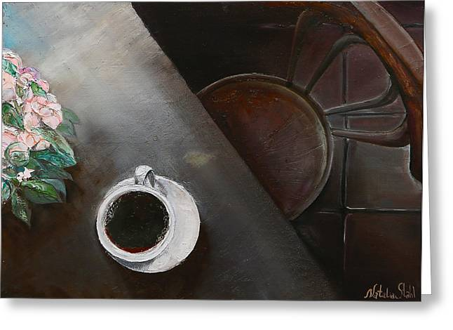 Morning Coffee Greeting Card by Natalia Stahl