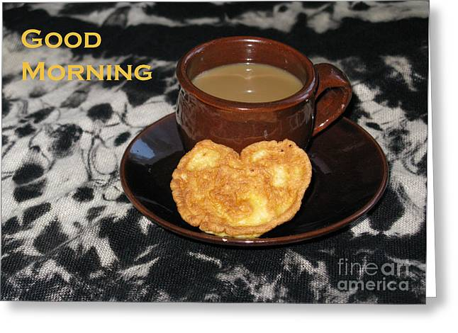 Morning Coffee Served With Love Greeting Card by Ausra Huntington nee Paulauskaite