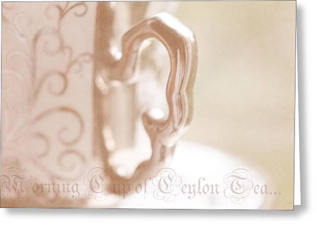 Morning Cup Of Ceylon Tea Greeting Card by Jenny Rainbow