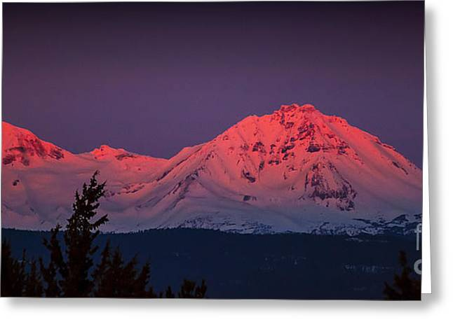 Morning Dawn On Two Of Three Sisters Mountain Tops In Oregon Greeting Card