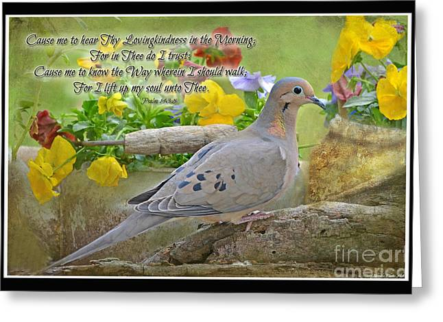 Morning Dove With Verse Greeting Card by Debbie Portwood