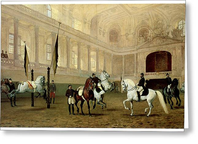 Morning Exercise In The Winter Riding School Greeting Card