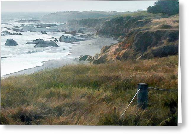 Morning Fog At Ocean Coastline Greeting Card by Elaine Plesser