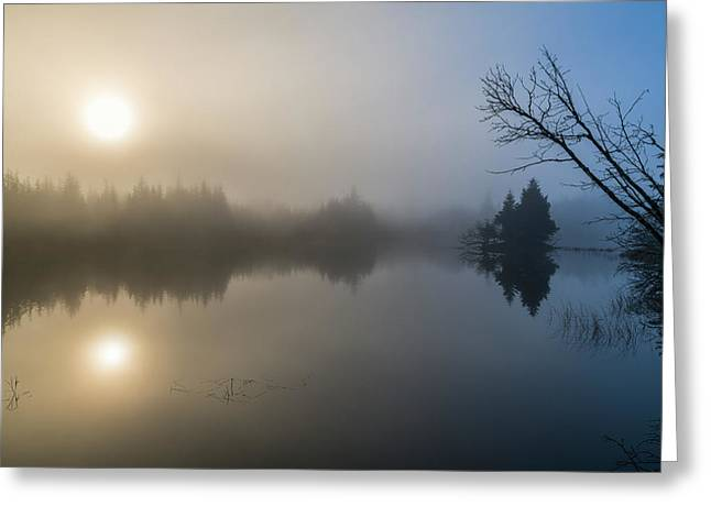 Morning Fog Begins To Lift From A Small Greeting Card by John Hyde