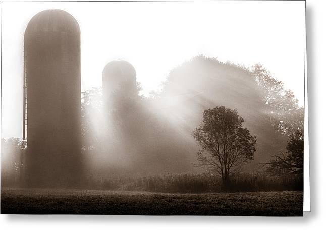 Morning Fog Burning Off The Farm Greeting Card