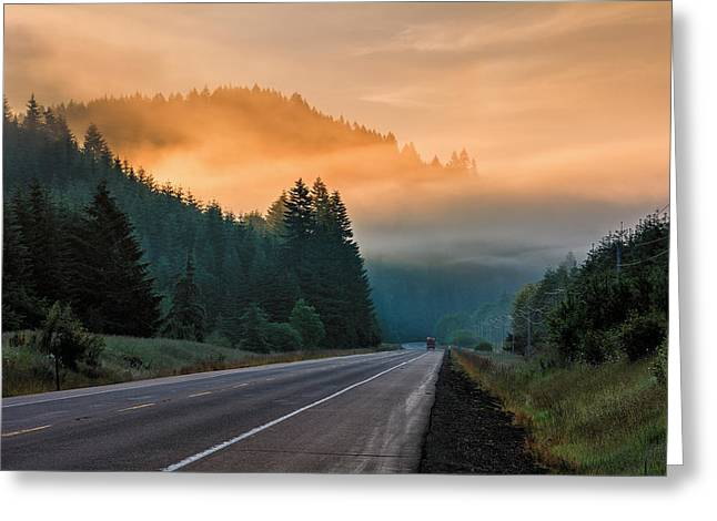 Morning Fog In Oregon Greeting Card