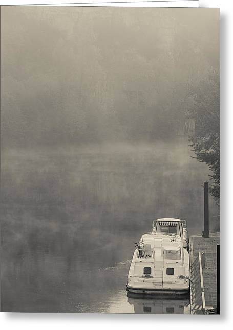 Morning Fog Over Lot River, Bouzies Greeting Card by Panoramic Images