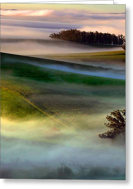 Morning Fog Over Two Rock Valley Diptych Greeting Card by Wernher Krutein