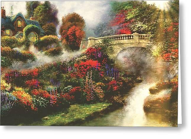 Morning Fog Thomas Kinkade Look-a-like Greeting Card by Jessie J De La Portillo