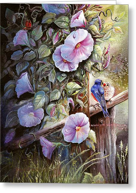 Morning Glories And Bluebirds. Greeting Card