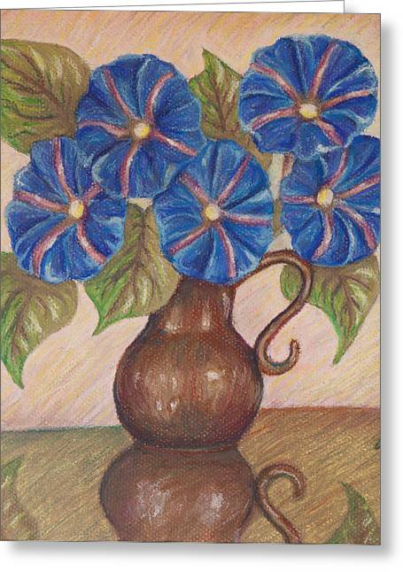 Morning Glories With Pink Background Greeting Card by Claudia Cox