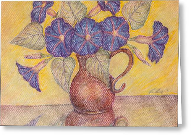Morning Glories With Yellow Background Greeting Card by Claudia Cox