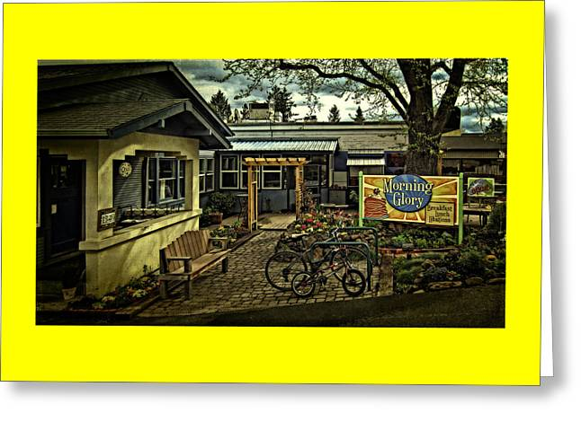Greeting Card featuring the photograph Morning Glory Cafe Ashland by Thom Zehrfeld