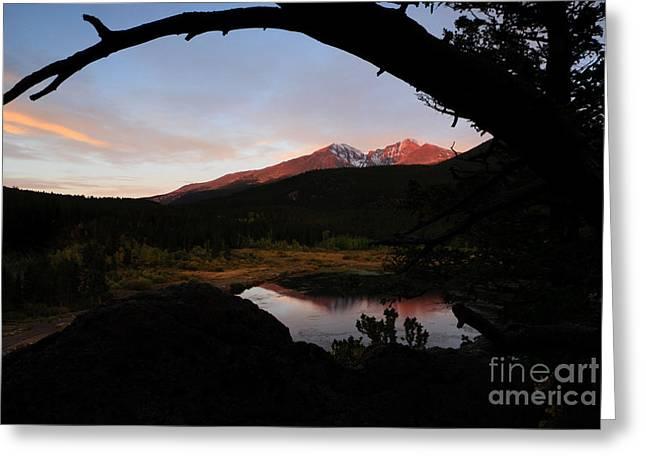 Morning Glow On Mountain Peaks Greeting Card by Karen Lee Ensley