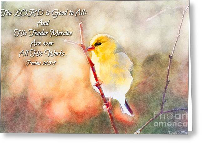 Morning Goldfinch - Digital Paint And Verse Greeting Card