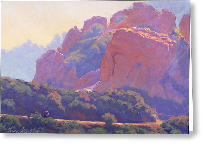 Morning Hike Cathedral Rock Greeting Card by Elena Roche