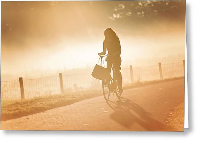 Morning Journey In The Glowing Mist Greeting Card by Jenny Rainbow