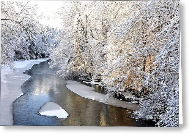 Morning Light Fresh Snowfall Gauley River Greeting Card