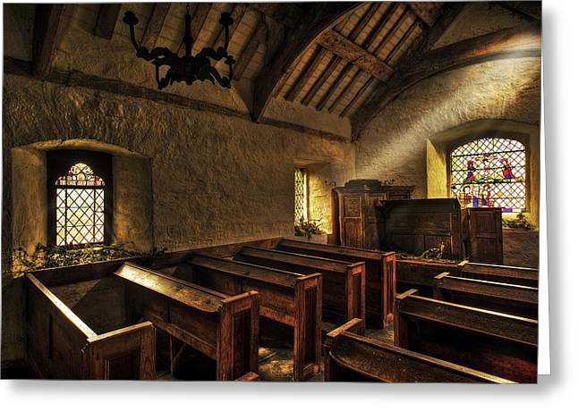 Morning Light In The Old Chapel Greeting Card by Mal Bray