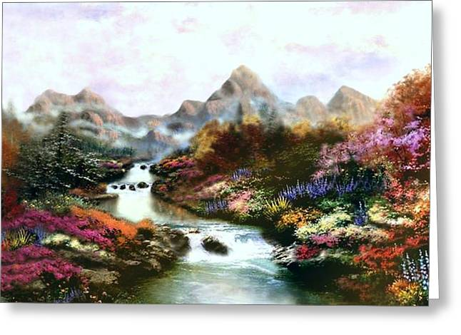 Morning Light   Thomas Kinkade Look A Like Greeting Card by Jessie J De La Portillo