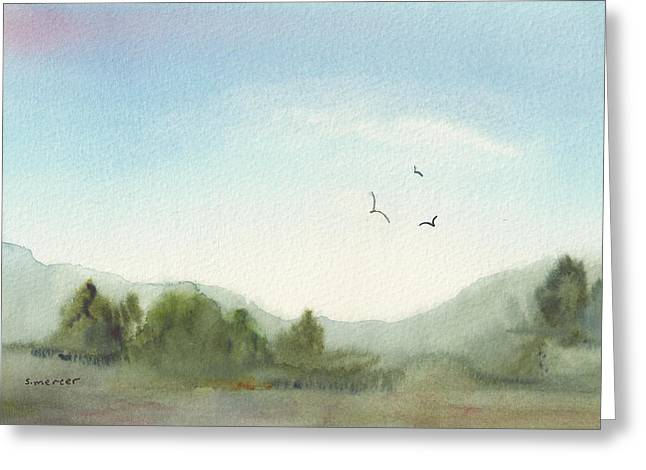 Morning Meadow Greeting Card by Shirley Mercer