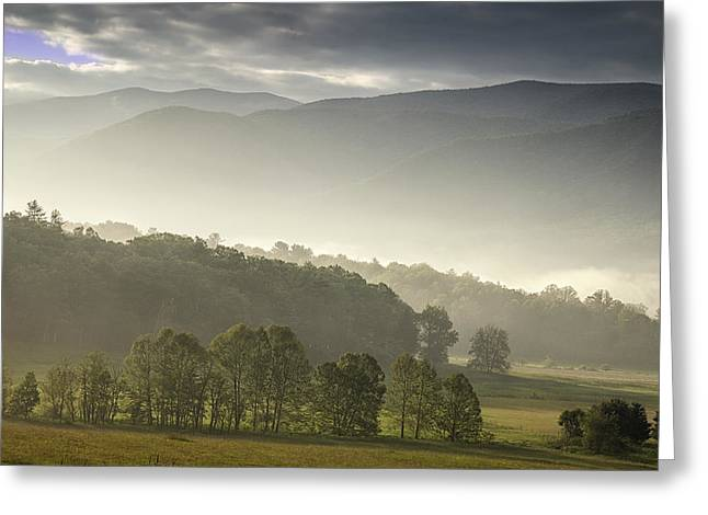 Morning Mist In The Smokies Greeting Card by Andrew Soundarajan