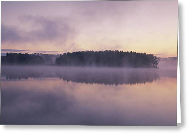 Morning Mist Over Connecticut River Greeting Card by Panoramic Images