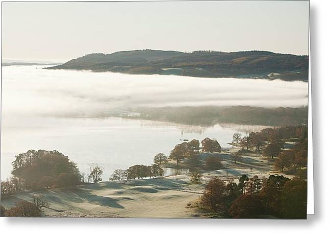 Morning Mist Over Lake Windermere Greeting Card