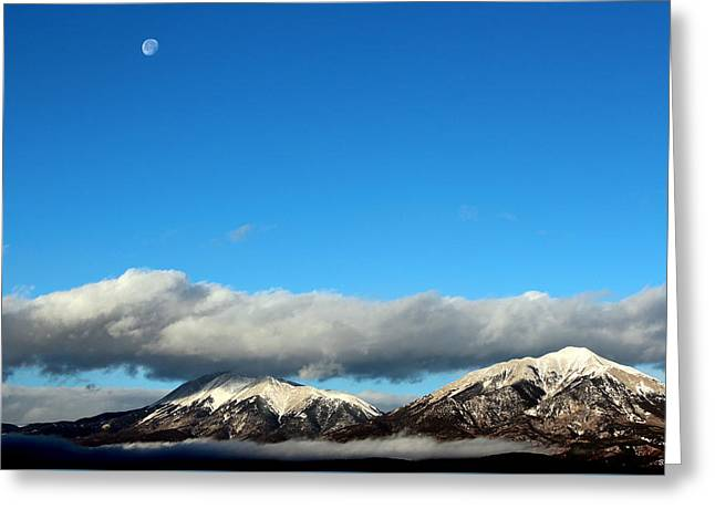 Greeting Card featuring the photograph Morning Moon Over Spanish Peaks by Barbara Chichester