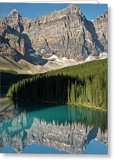Morning, Moraine Lake, Reflection Greeting Card