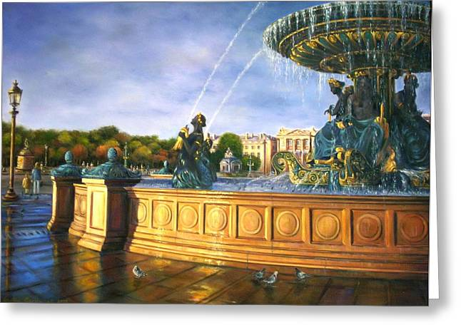 Morning On Place De La Concorde Greeting Card by Gulay Berryman