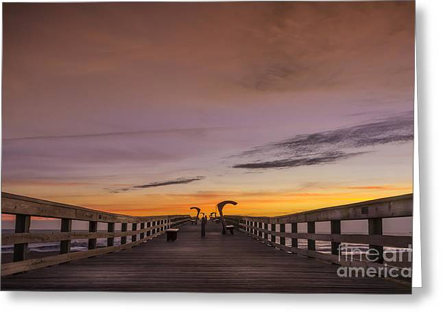 Morning Pier Deck Greeting Card by Marvin Spates