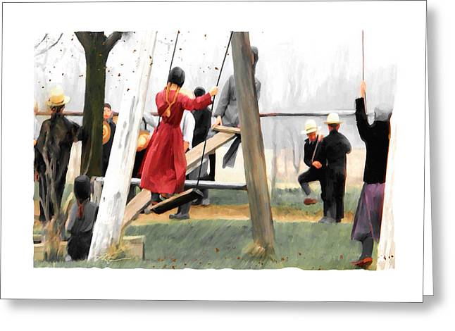 Greeting Card featuring the painting Morning Recess by Bob Salo