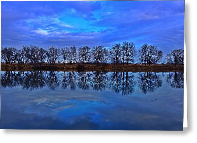 Blue Morning Reflection Greeting Card