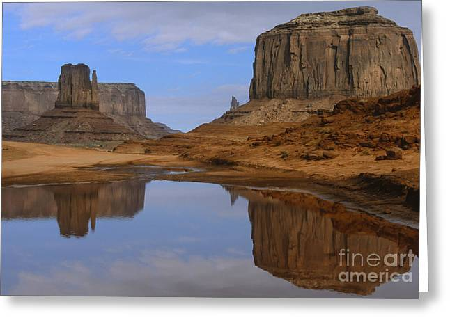 Morning Reflections In Monument Valley Greeting Card by Sandra Bronstein
