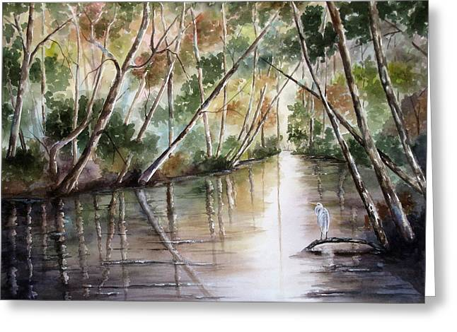 Greeting Card featuring the painting Morning Reflections by Mary McCullah