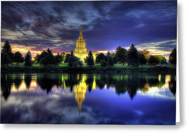 Morning Reflections Of Idaho Falls Temple  Greeting Card