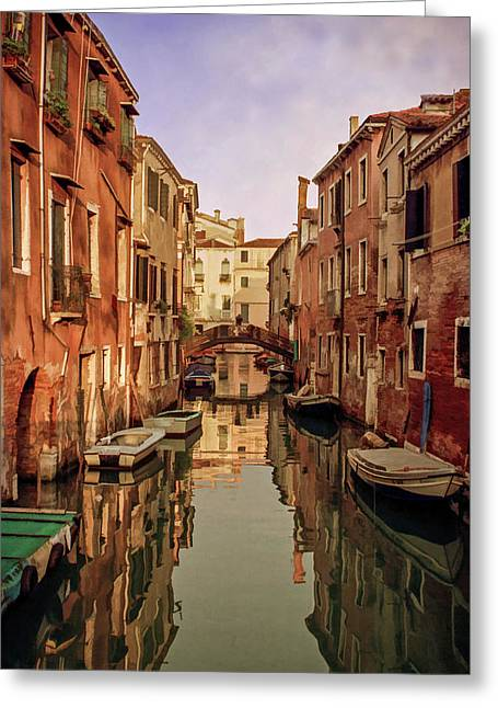 Morning Reflections Of Venice Greeting Card by Cliff Wassmann