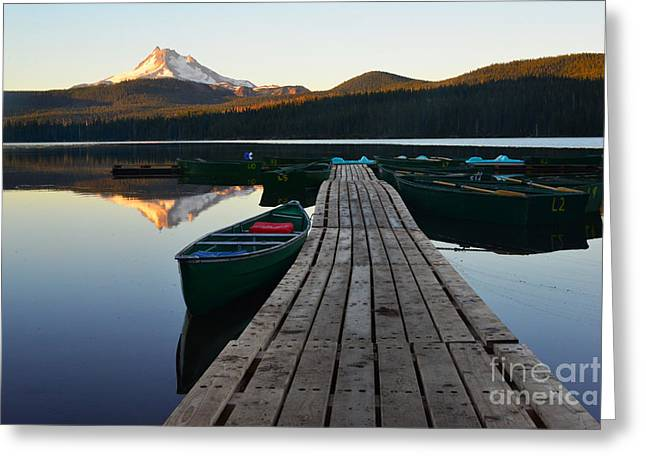 Morning Reflections With Mount Ranier Greeting Card by Jane Axman