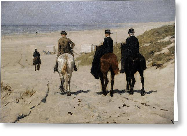 Morning Ride Along The Beach Greeting Card by Anton Mauve